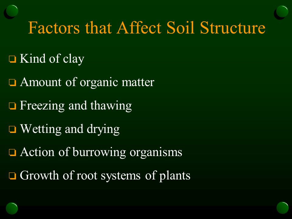 Factors that Affect Soil Structure o Kind of clay o Amount of organic matter o Freezing and thawing o Wetting and drying o Action of burrowing organis