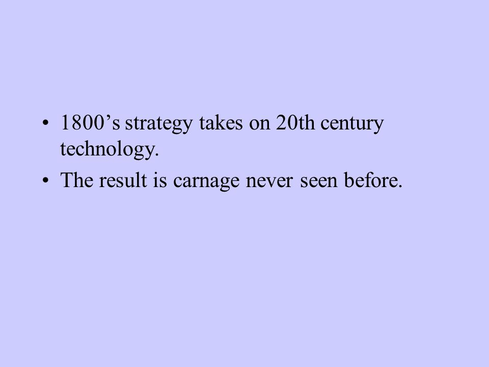 1800's strategy takes on 20th century technology. The result is carnage never seen before.