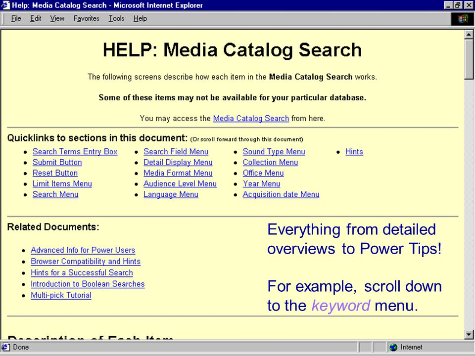 Performing a multi-pick search  Choose appropriate pull-down options  Press Submit cat  Type your search criteria