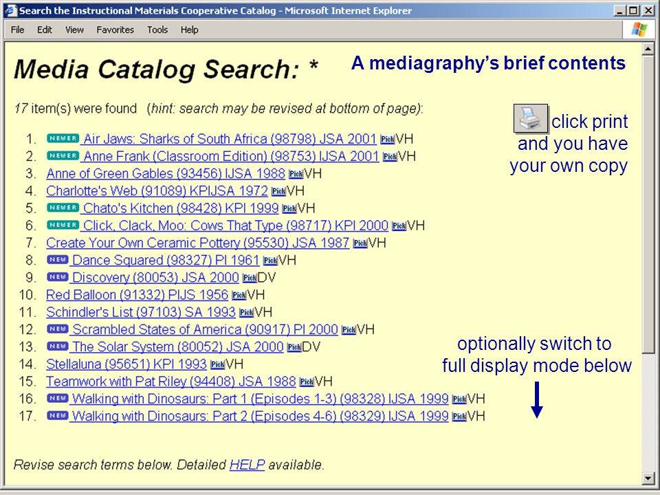 The mediagraphy listing Our specialty listings are designed to help make your searching more successful… if there are any mediagraphies that would be helpful to you, please let us know.