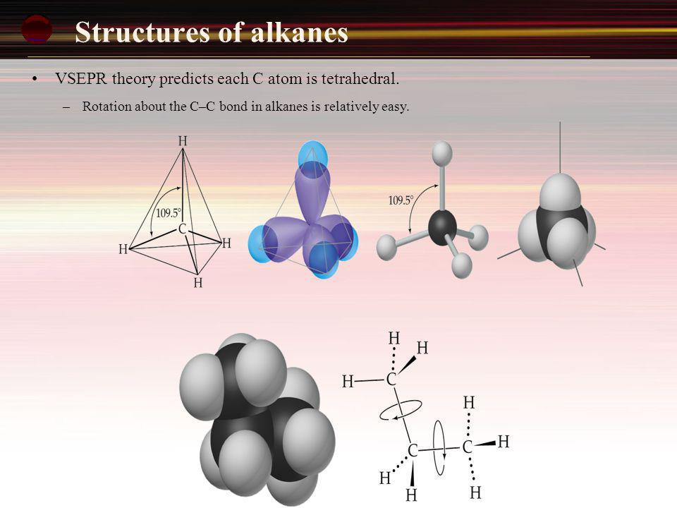 Structures of alkanes VSEPR theory predicts each C atom is tetrahedral. – Rotation about the C–C bond in alkanes is relatively easy.