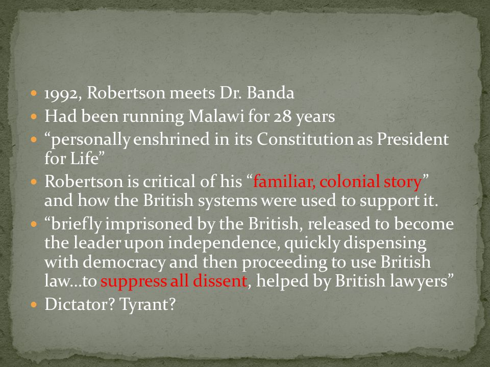 1992, Robertson meets Dr.