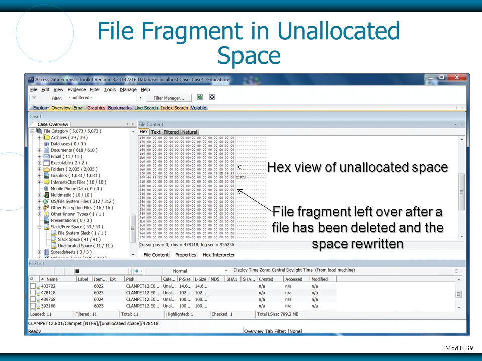 Mod H-39 File Fragment in Unallocated Space Hex view of unallocated space File fragment left over after a file has been deleted and the space rewritte