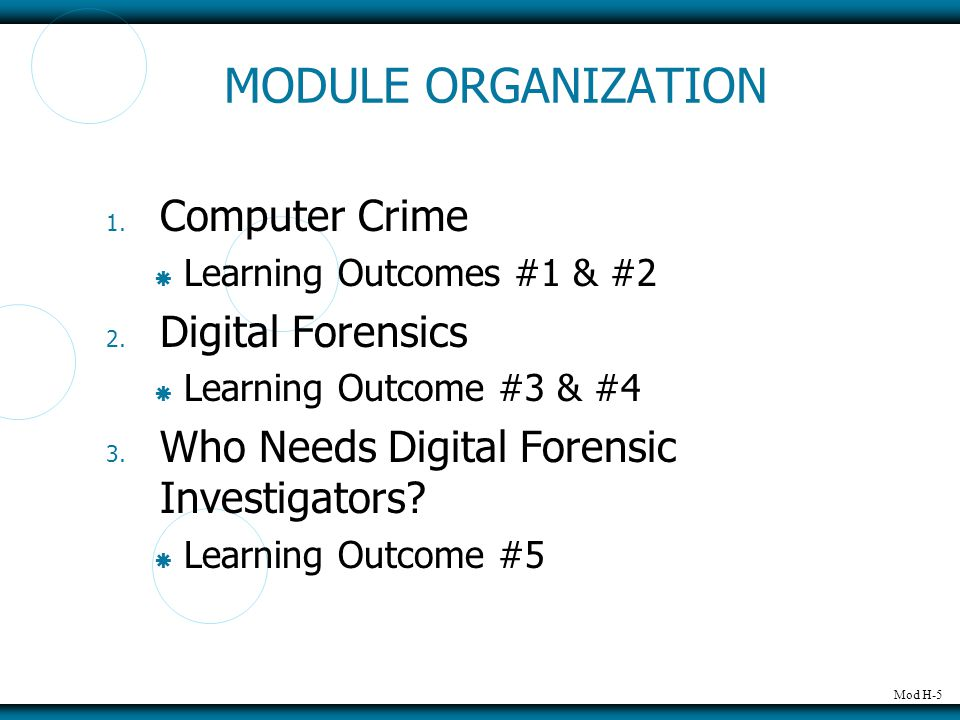 Mod H-5 MODULE ORGANIZATION 1. Computer Crime  Learning Outcomes #1 & #2 2.