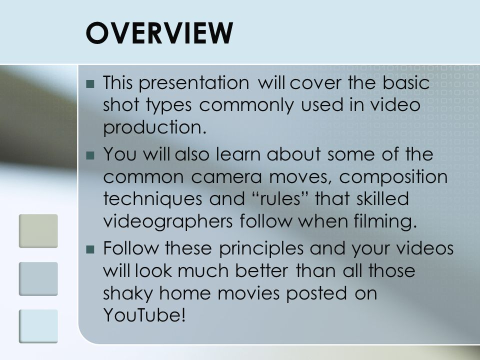 Introduction to Video Communications: Common Shot Types & Composition Techniques TGJ 2OI Bluevale Collegiate