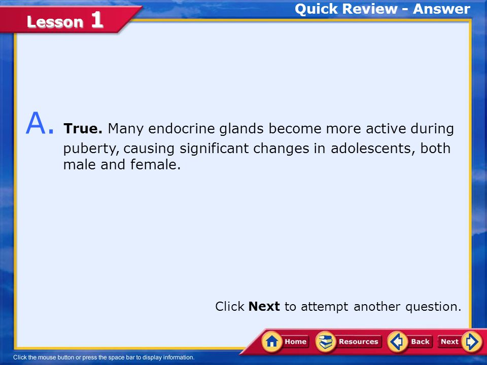 Lesson 1 Quick Review Q. Many endocrine glands become more active during puberty, causing significant changes in adolescents, both male and female. Tr