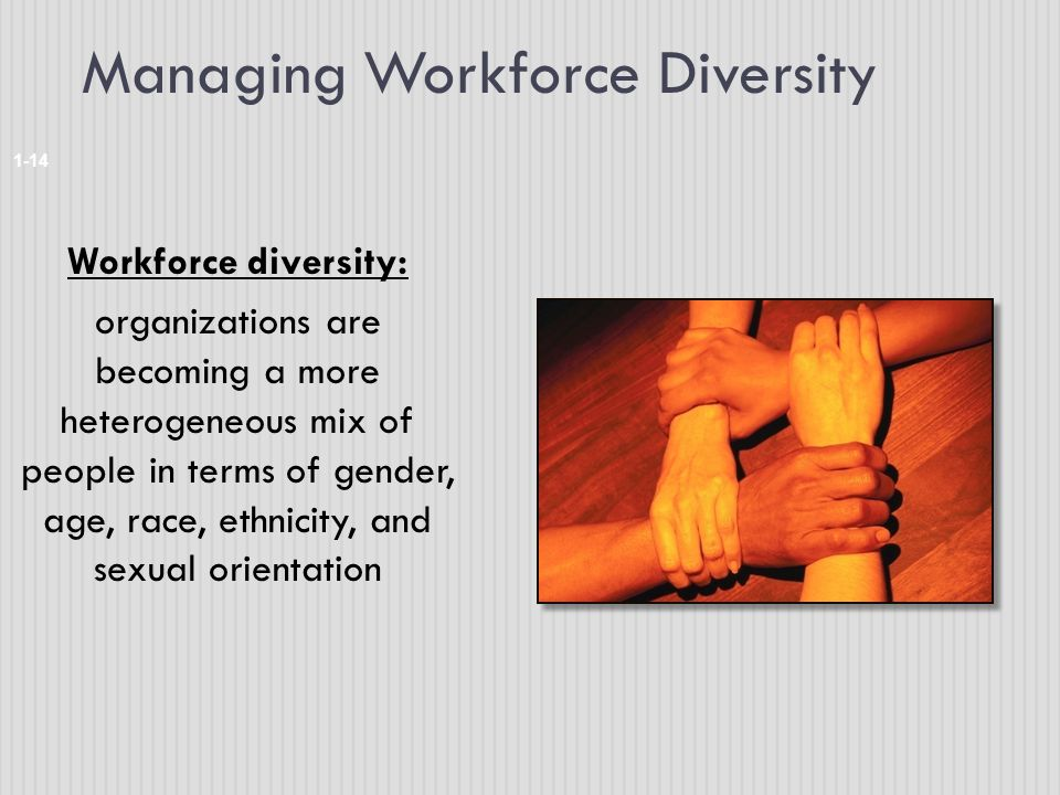 Managing Workforce Diversity 1-14 Workforce diversity: organizations are becoming a more heterogeneous mix of people in terms of gender, age, race, ethnicity, and sexual orientation