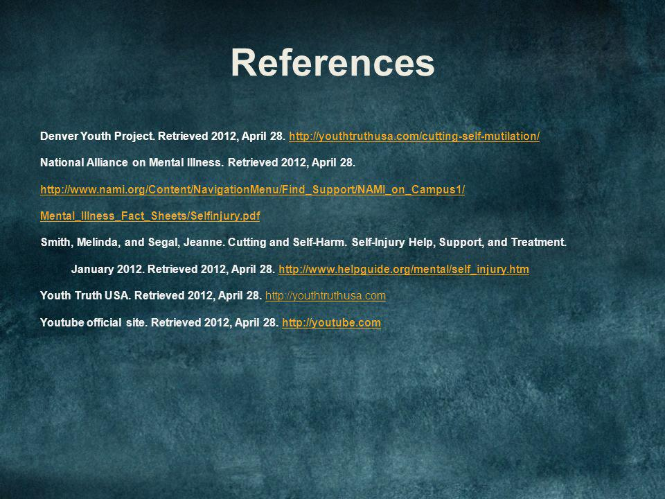 References Denver Youth Project. Retrieved 2012, April 28.