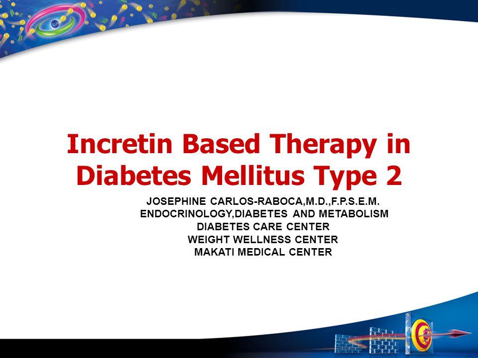Incretin Based Therapy in Diabetes Mellitus Type 2 JOSEPHINE CARLOS-RABOCA,M.D.,F.P.S.E.M. ENDOCRINOLOGY,DIABETES AND METABOLISM DIABETES CARE CENTER