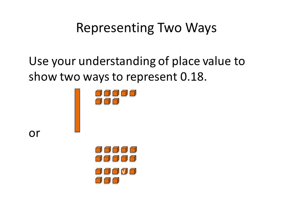 Representing Two Ways Use your understanding of place value to show two ways to represent 0.18. or √ √