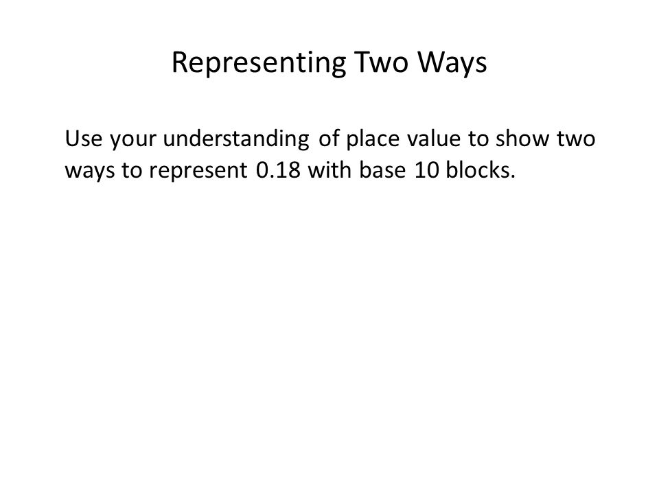 Representing Two Ways Use your understanding of place value to show two ways to represent 0.18 with base 10 blocks.