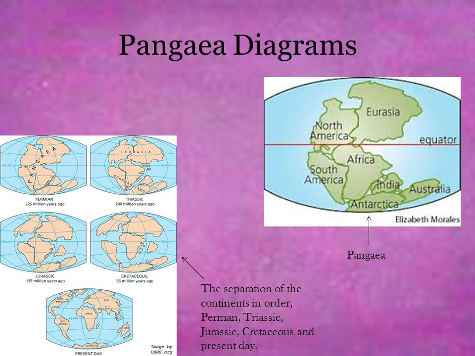 Pangaea Diagrams The separation of the continents in order, Perman, Triassic, Jurassic, Cretaceous and present day. Pangaea