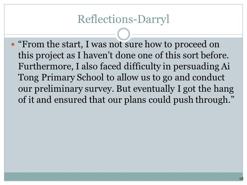 "Reflections-Darryl ""From the start, I was not sure how to proceed on this project as I haven't done one of this sort before. Furthermore, I also faced"