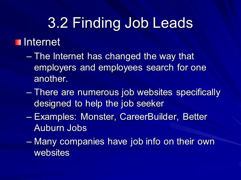 3.2 Finding Job Leads Internet –The Internet has changed the way that employers and employees search for one another.