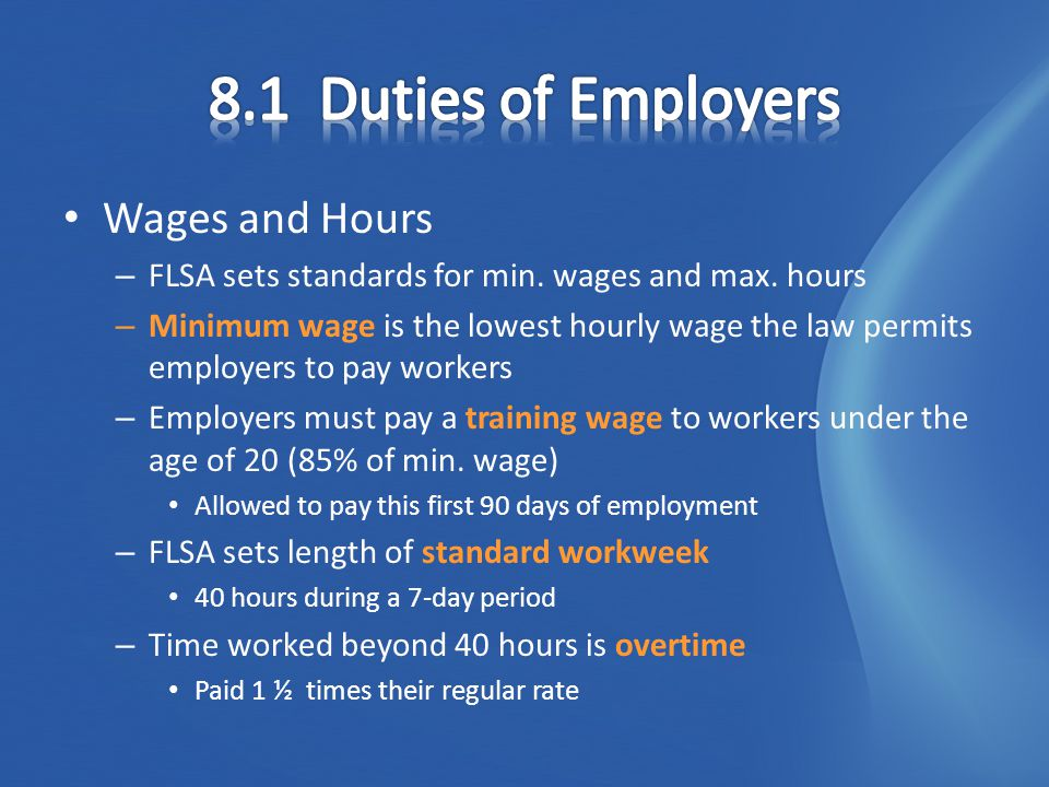 Equal Pay What if you and another worker… – Worked for same amount of time – Have the same skills – One makes more than the other – Equal Pay Act of 1963 Made it illegal for different pay scales for same work