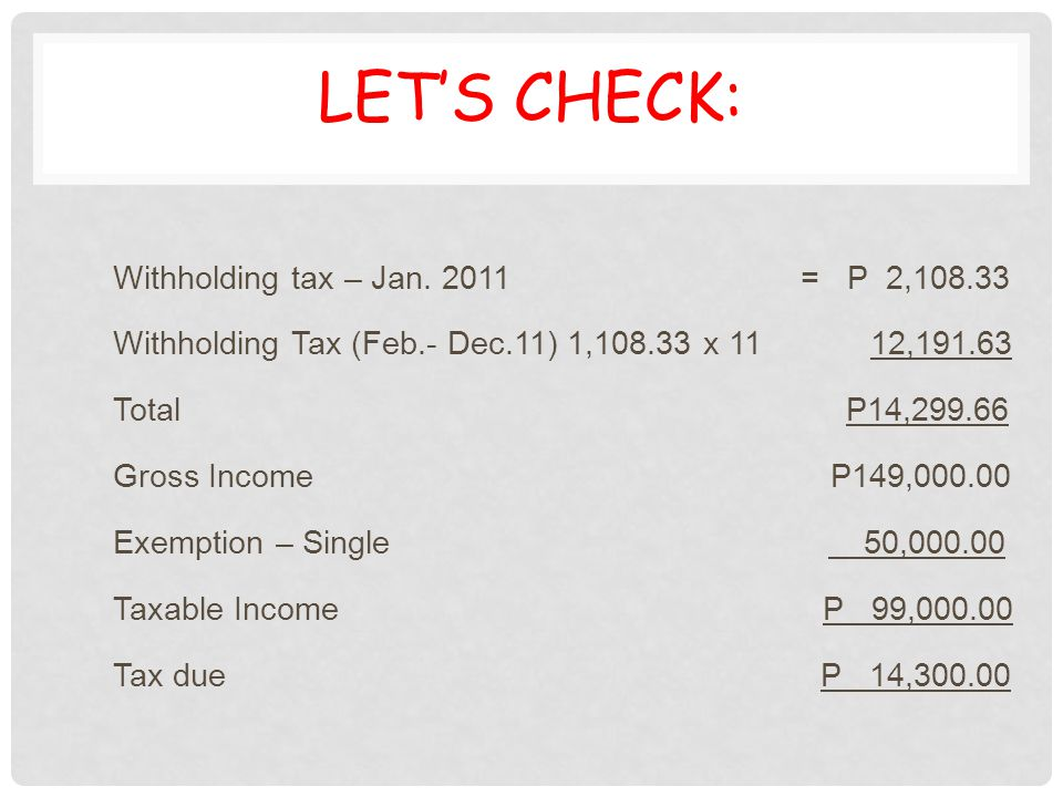 LET'S CHECK: Withholding tax – Jan. 2011 = P 2,108.33 Withholding Tax (Feb.- Dec.11) 1,108.33 x 11 12,191.63 Total P14,299.66 Gross Income P149,000.00