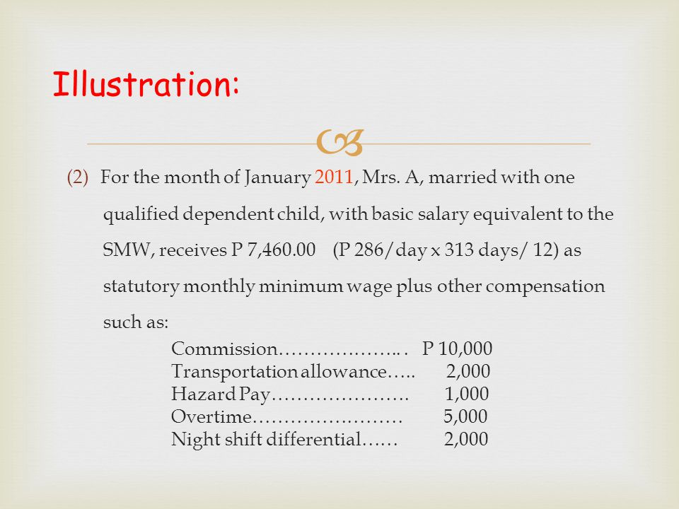 Illustration: (2)For the month of January 2011, Mrs. A, married with one qualified dependent child, with basic salary equivalent to the SMW, receive