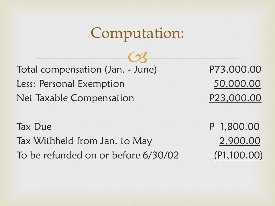  Total compensation (Jan. - June)P73,000.00 Less: Personal Exemption 50,000.00 Net Taxable CompensationP23,000.00 Tax DueP 1,800.00 Tax Withheld from