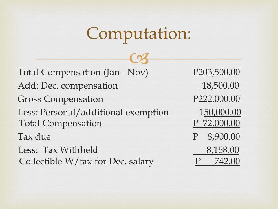  Total Compensation (Jan - Nov) P203,500.00 Add: Dec. compensation 18,500.00 Gross Compensation P222,000.00 Less: Personal/additional exemption 150,0