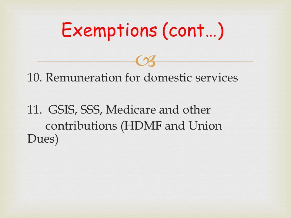  Exemptions (cont…) 12.