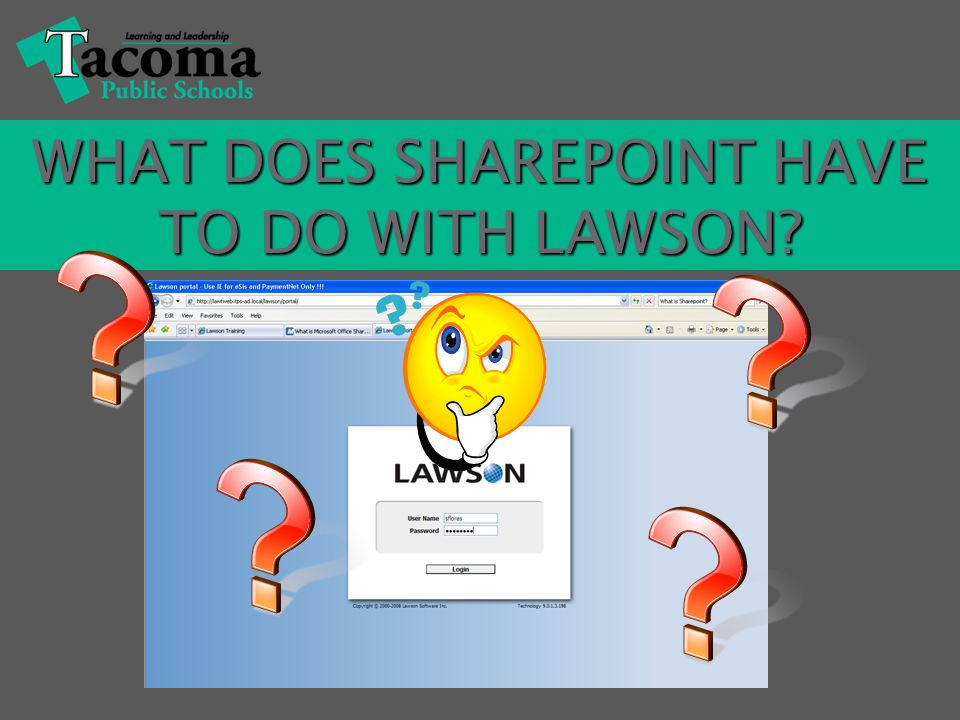 Lawson is an integrated, Web-based system, as is SharePoint.