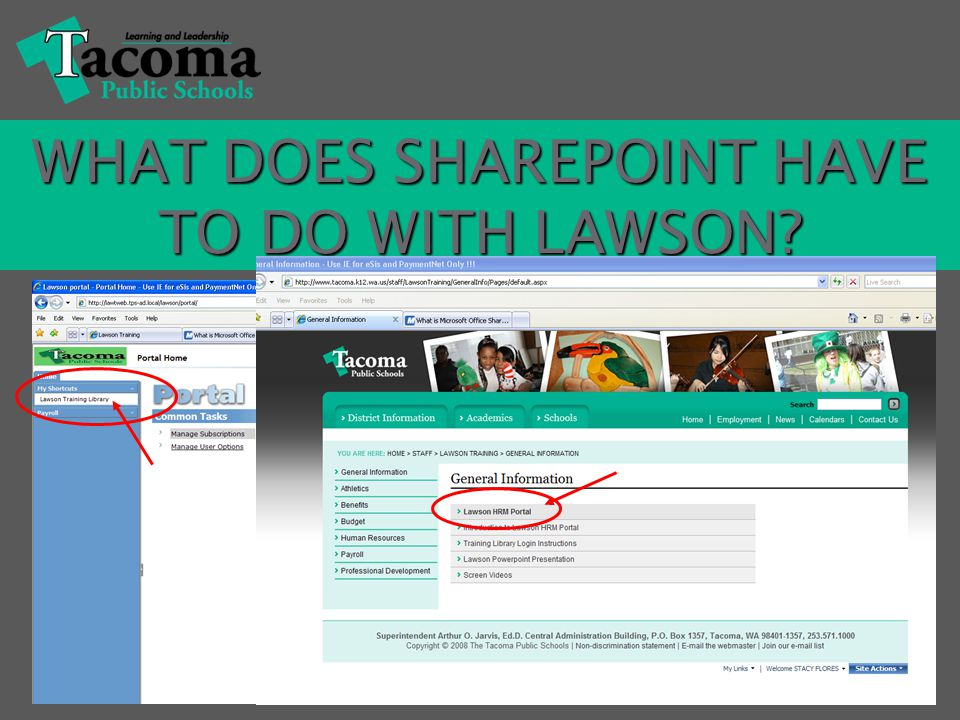 Go to Go to www.tacomaschools.orgwww.tacomaschools.org to login to the Lawson Training Library.