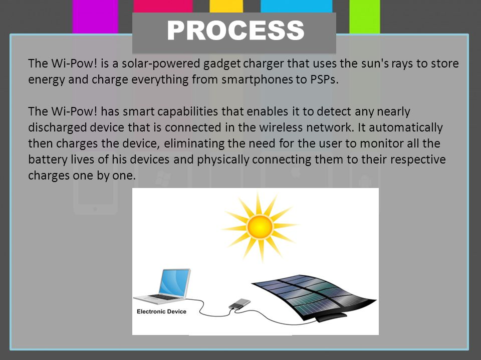 The Wi-Pow! is a solar-powered gadget charger that uses the sun's rays to store energy and charge everything from smartphones to PSPs. The Wi-Pow! has