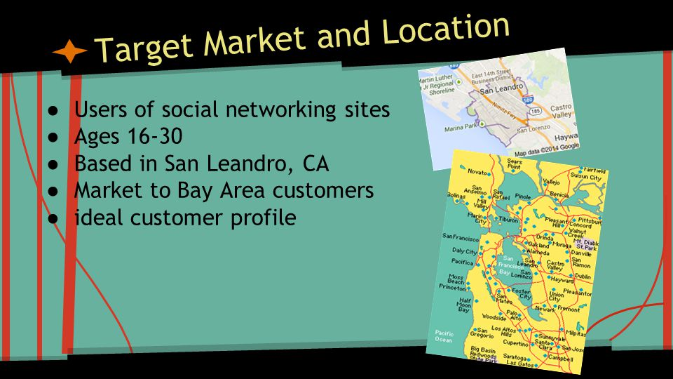 Target Market and Location ● Users of social networking sites ● Ages ● Based in San Leandro, CA ● Market to Bay Area customers ● ideal customer profile