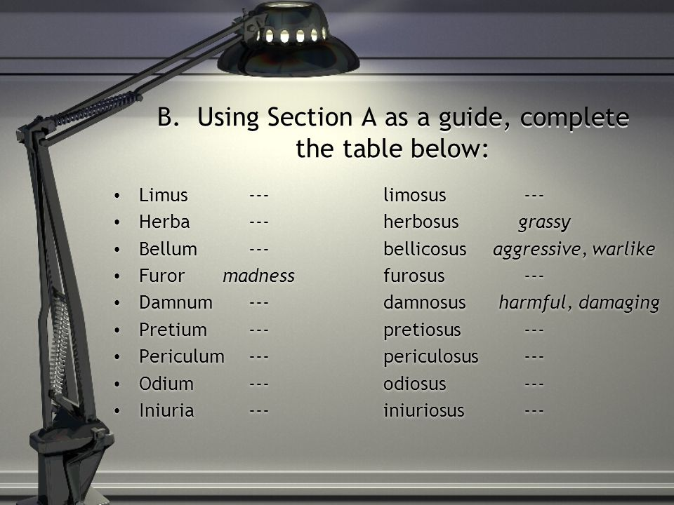 B. Using Section A as a guide, complete the table below: Limus---limosus --- Herba---herbosusgrassy Bellum---bellicosus aggressive, warlike Furor madn