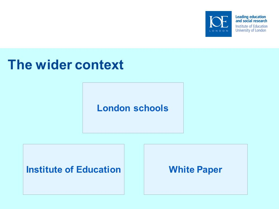 The wider context London schools Institute of EducationWhite Paper