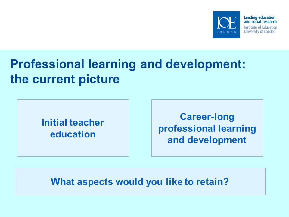 Professional learning and development: two key influences on future relationships Government policy What works best for London.