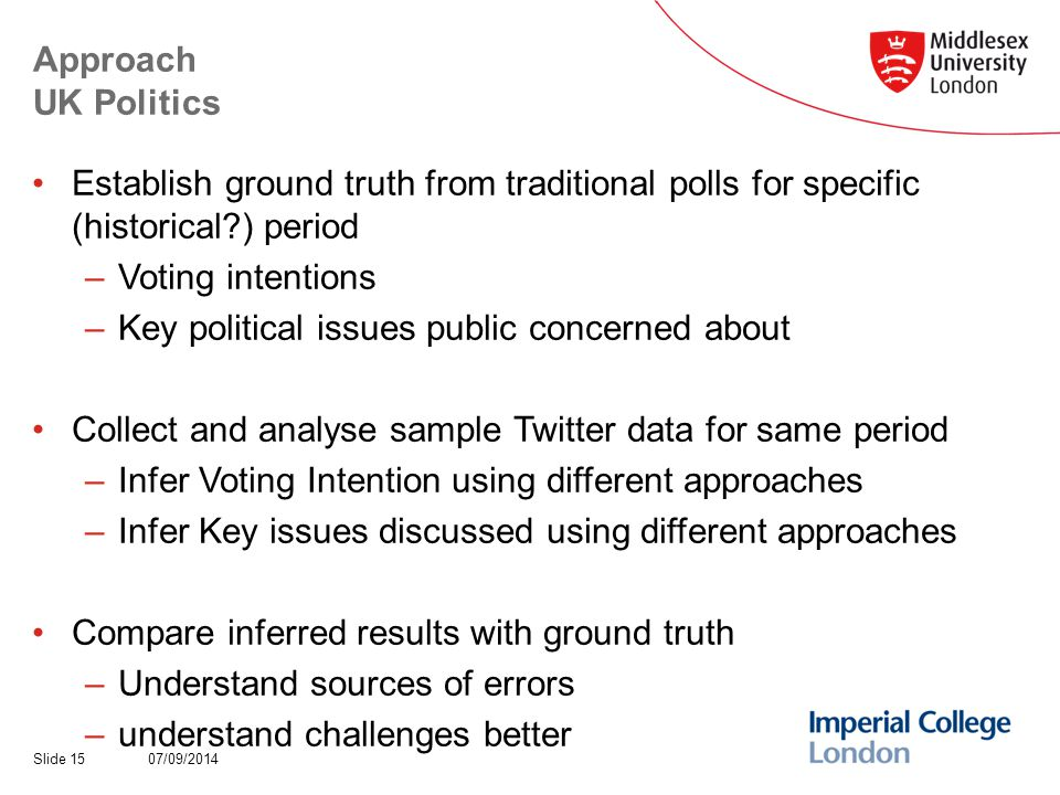 Approach UK Politics Establish ground truth from traditional polls for specific (historical ) period –Voting intentions –Key political issues public concerned about Collect and analyse sample Twitter data for same period –Infer Voting Intention using different approaches –Infer Key issues discussed using different approaches Compare inferred results with ground truth –Understand sources of errors –understand challenges better 07/09/2014Slide 15