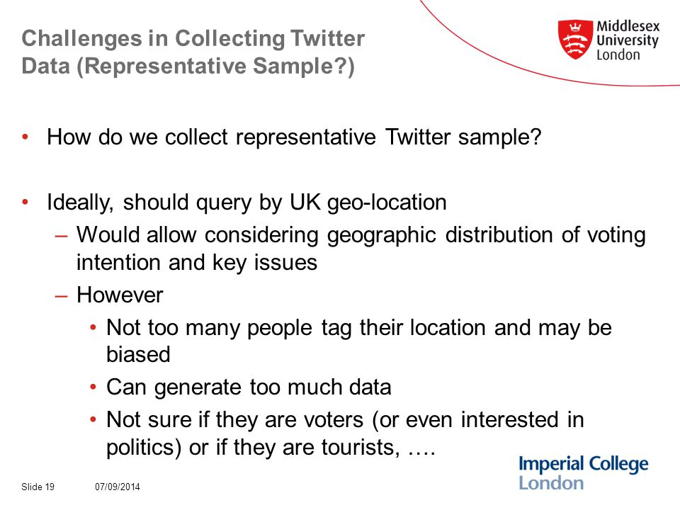 Challenges in Collecting Twitter Data (Representative Sample?) How do we collect representative Twitter sample.