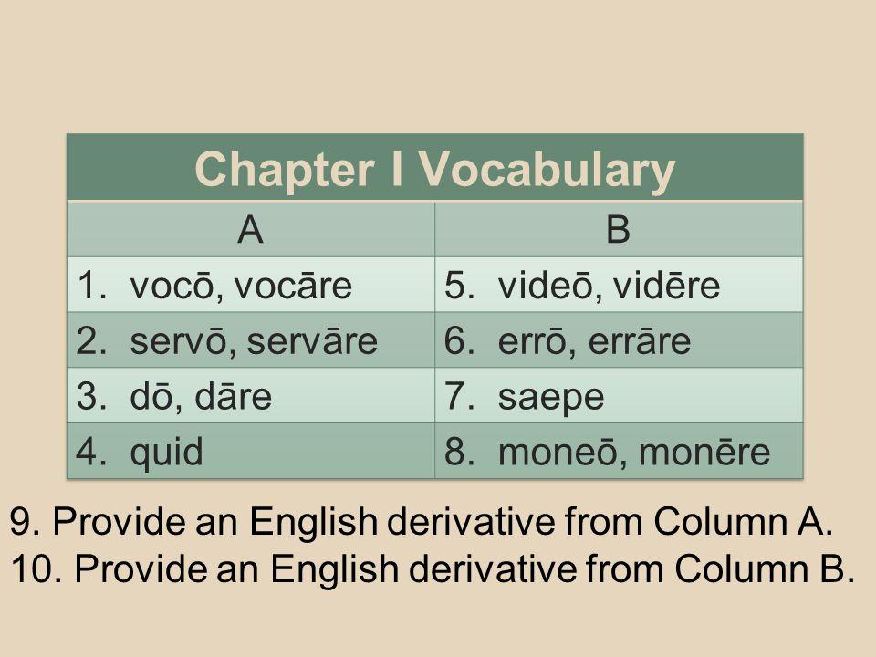 9. Provide an English derivative from Column A. 10. Provide an English derivative from Column B.