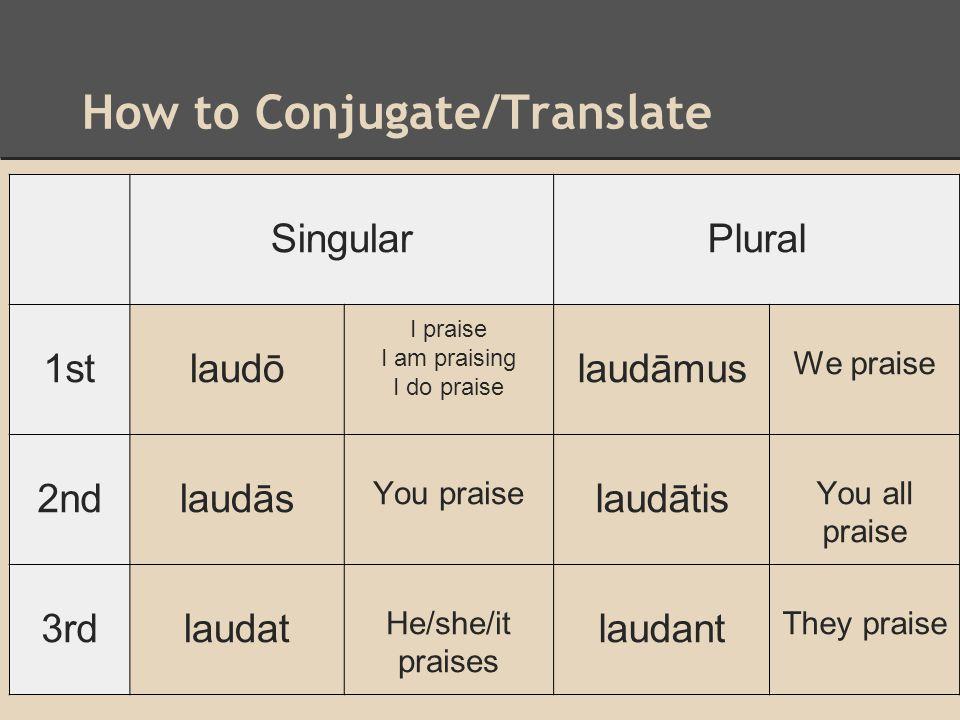 How to Conjugate/Translate SingularPlural 1stlaudō I praise I am praising I do praise laudāmus We praise 2ndlaudās You praise laudātis You all praise
