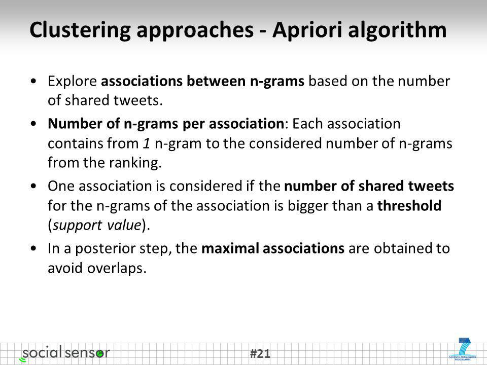 Clustering approaches - Apriori algorithm Explore associations between n-grams based on the number of shared tweets.
