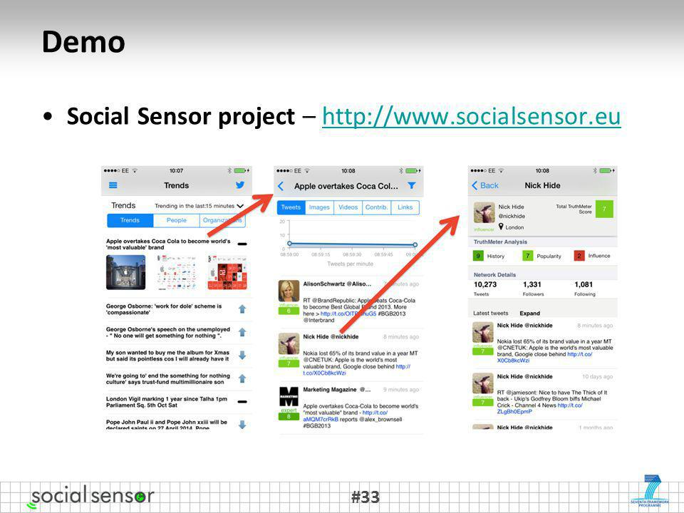 Demo Social Sensor project – http://www.socialsensor.euhttp://www.socialsensor.eu #33