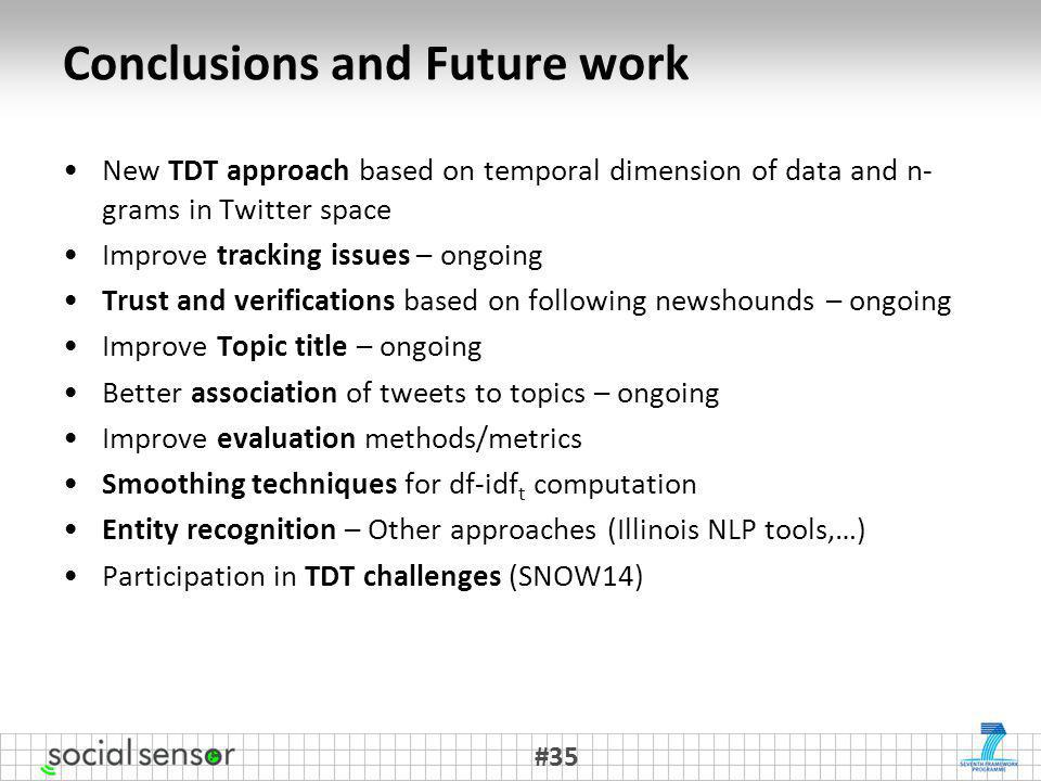 Conclusions and Future work New TDT approach based on temporal dimension of data and n- grams in Twitter space Improve tracking issues – ongoing Trust