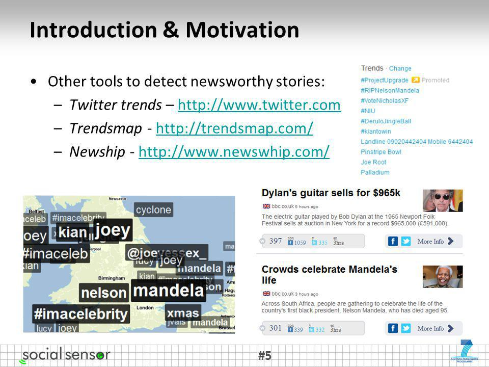 Other tools to detect newsworthy stories: –Twitter trends –   –Trendsmap -   –Newship -   Introduction & Motivation #5