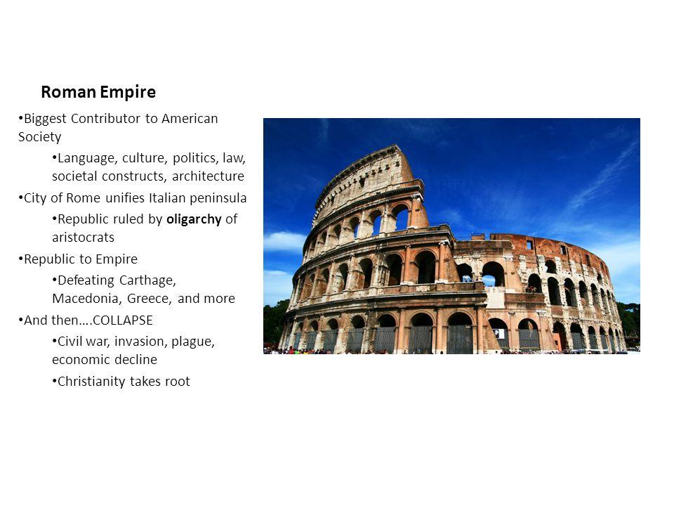Roman Empire Biggest Contributor to American Society Language, culture, politics, law, societal constructs, architecture City of Rome unifies Italian