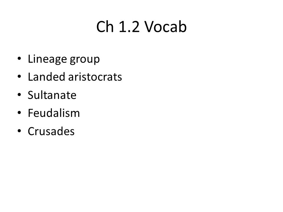Ch 1.2 Vocab Lineage group Landed aristocrats Sultanate Feudalism Crusades
