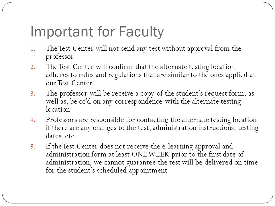 Important for Faculty 1.