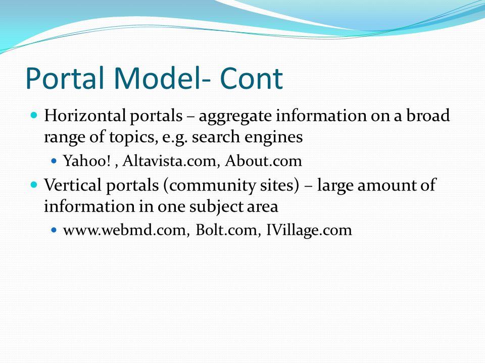 Portal Model- Cont Horizontal portals – aggregate information on a broad range of topics, e.g. search engines Yahoo!, Altavista.com, About.com Vertica