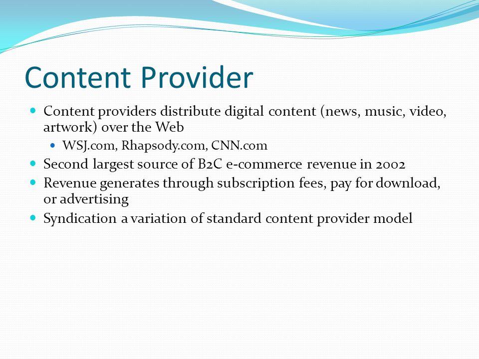 Content Provider Content providers distribute digital content (news, music, video, artwork) over the Web WSJ.com, Rhapsody.com, CNN.com Second largest