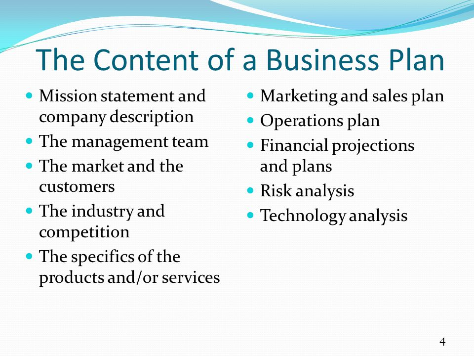 Mission statement and company description The management team The market and the customers The industry and competition The specifics of the products