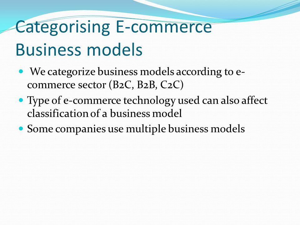 Categorising E-commerce Business models We categorize business models according to e- commerce sector (B2C, B2B, C2C) Type of e-commerce technology us