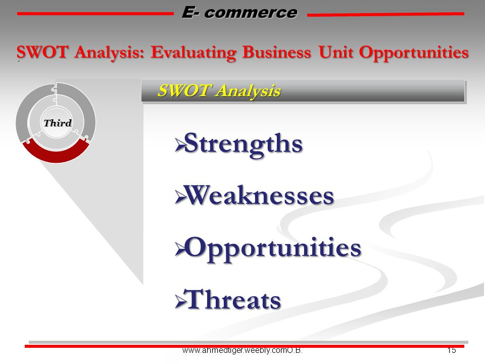 15www.ahmedtiger.weebly.comO.B. SWOT Analysis Third. E- commerce SWOT Analysis: Evaluating Business Unit Opportunities  Strengths  Weaknesses  Oppo