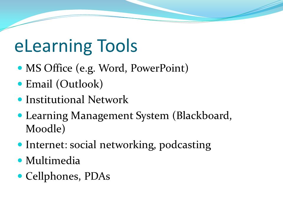 eLearning Options Low-threshold activities Low-threshold LMS Intermediate LMS Advanced LMS Into the Wild