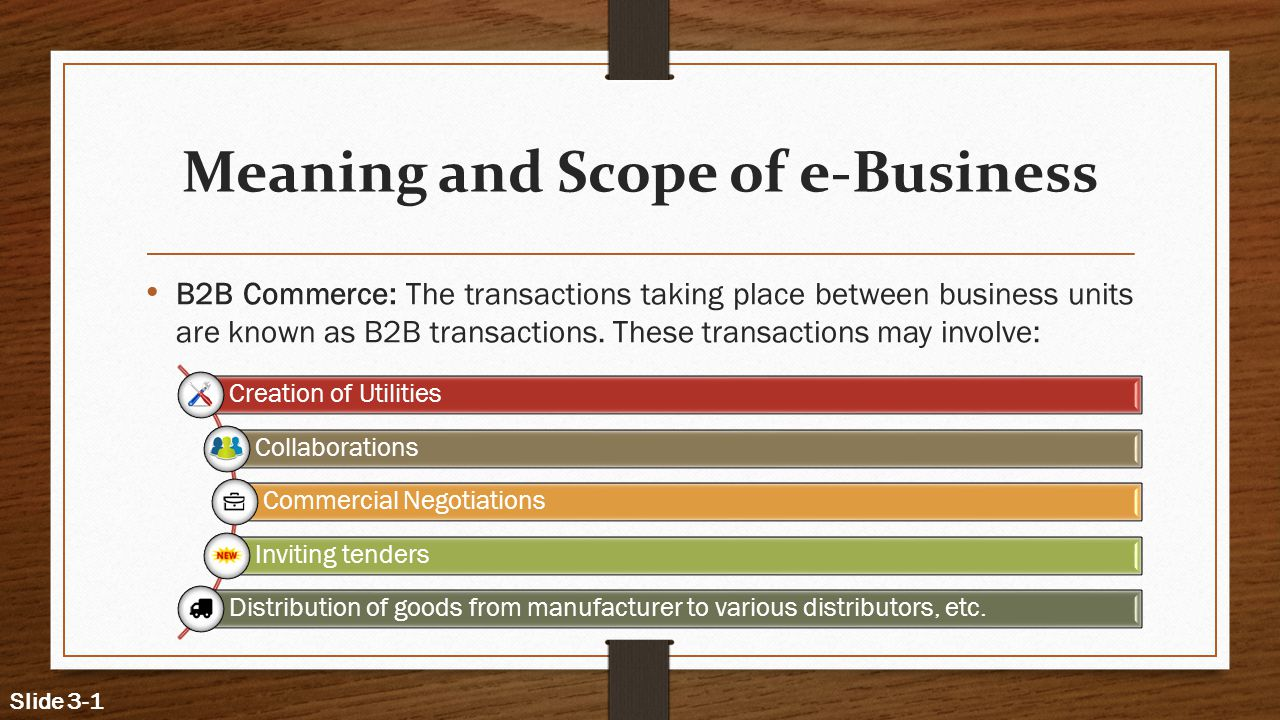 Meaning and Scope of e-Business B2B Commerce: The transactions taking place between business units are known as B2B transactions.