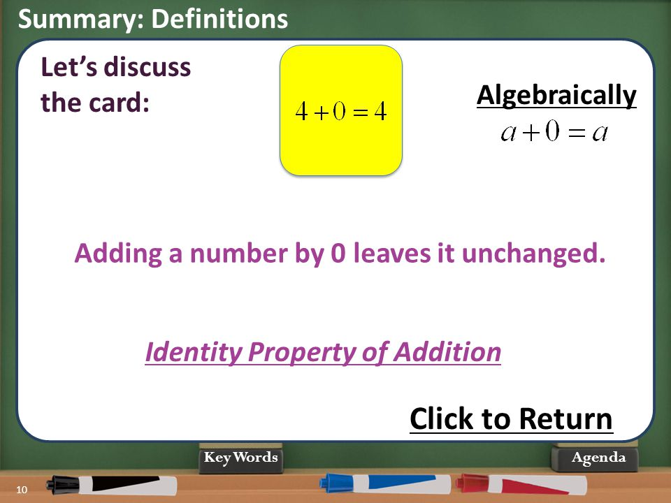 Summary: Definitions 10 Agenda Identity Property of Addition Let's discuss the card: Adding a number by 0 leaves it unchanged. Click to Return Algebra